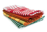 Colorful kitchen towels white isolated