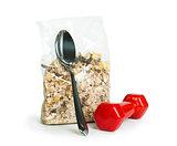 Muesli breakfast in transparent package