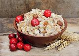 Porridge with cranberries fruits.