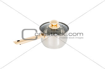 saucepan with glass lid isolated on white