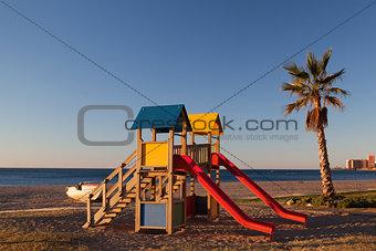 On the Malaga beach in the morning