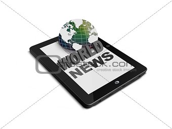 World news on tablet computer