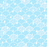 Seamless Light Blue Fluffy Cloud with Drops Pattern
