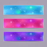 Set of Purple Blurred Vector Banners