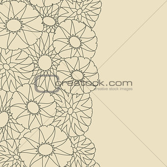 Grey Card with Flower Silhouettes