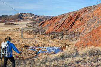 hiker in a rugged Colorado landscape