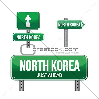 north korea Country road sign