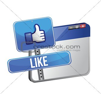like us sign and web browser