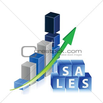 Sales up business graph with arrow and cubes