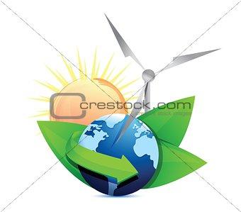 Renewal energy globe concept