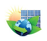 Renewal energy globe solar panel concept