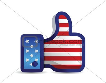 USA united States thumb up like hand