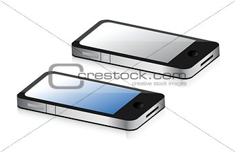smartphones, blue and grey