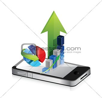 Business phone. Smartphone business graph charts