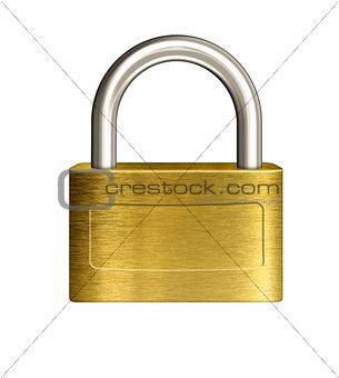 closed brass padlock illustration