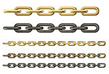 metal chains set isolated on white