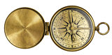 golden antique pocket compass with lid isolated on white