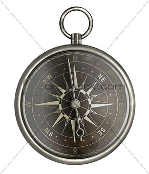 antique metal compass with dark face isolated on white