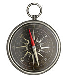 old metal compass with dark face isolated on white