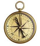 aged brass antique nautical pocket compass isolated on white