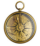 brass antique compass isolated on white
