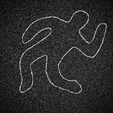 Chalk outline of dead body on asphalt road