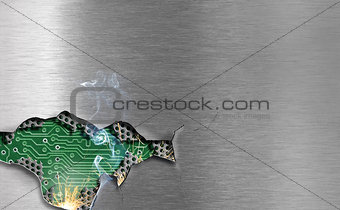 metal background with mechanical damage and visible eletronical