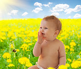 Babygirl sitting among dandelion collage