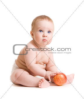 Baby boy isolated sitting with apple