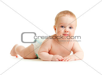 Baby boy in diaper lying isolated