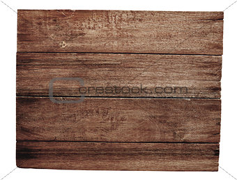 old wooden signboard isolated on white