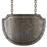 medieval metal signboard hanging on chains isolated on white