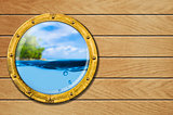 ship porthole with tropical landscape and underwater behind