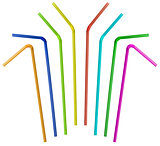 colorful straw collection isolated on white
