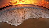 sea or ocean beach sunset fisheye lens shot