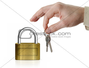Closed lock with copyspace and man's hand holding set of keys is