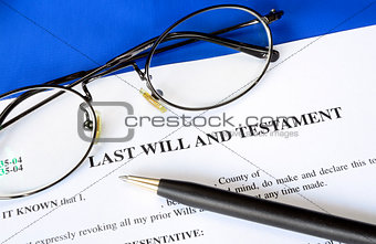 Last Will and Testament concept of estate planning