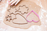 Gingerbread dough and shaped cutters