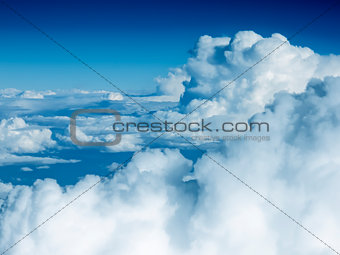 flight over the clouds