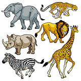 set with african animals