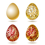 Red and Gold Easter eggs.
