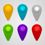 Vector set of round glossy map pointers