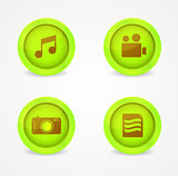 Set of glossy multimedia icons. Vector icons