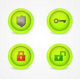 Set of glossy security icons. Vector icons