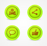 Set of glossy internet social icons. Vector icons