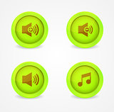 Set of glossy media player icons. Vector icons