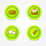 Set of glossy communication icons. Vector icons