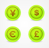Currency signs on glossy icons. Vector icons