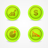 Financial signs on glossy icons. Vector icons