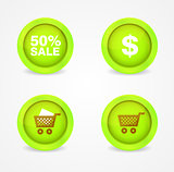 Set of glossy shopping icons. Vector icons